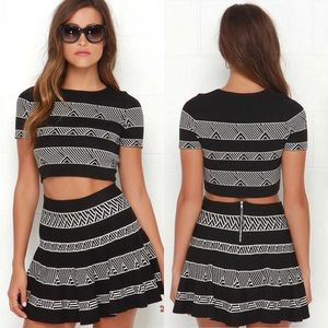 Lulus Ivory and Black Print Two-Piece Dress